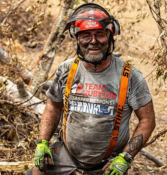 Frank Sandbye-Ruud i Team Rubicon Norge har tidligere deltatt under flere kriser, her fra Australia under de massive skogbrannene i landet. Foto