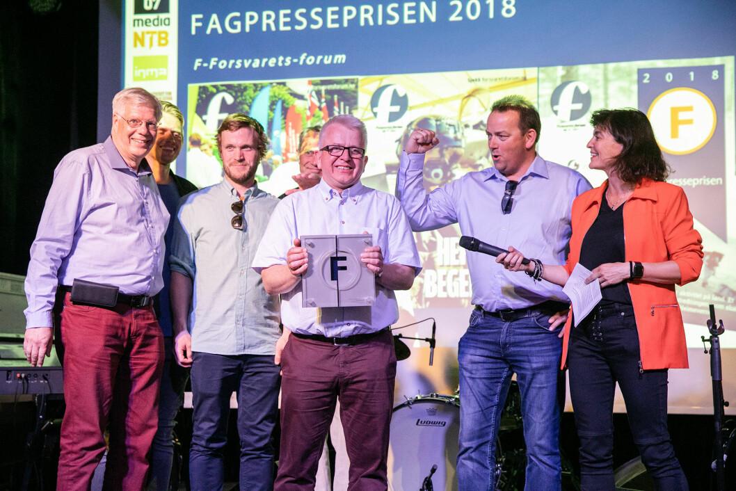 Ansvarlig redaktør Tor Eigil Stordahl tok i mot Fagpresseprisen 2018. Foto: Audun Braastad.