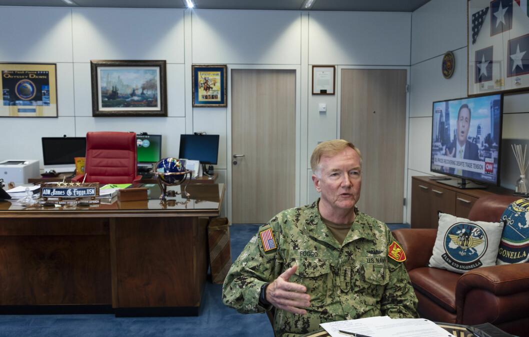Logistikk: Admiral James Foggo sier at det blir vanskelig å transportere personell og materiell i deler av Norge under Nato-øvelsen Trident Juncture.