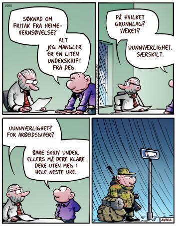 Dette  var den første stripen i Lunch-serien som Forsvarets forum har trykket siden 2016. Nå går hele serien i tegneseriebladet Lunch. ©BØRGE LUND/STRAND COMICS