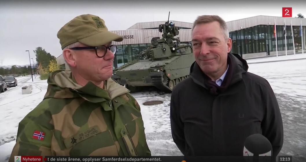 HARD DISKUSJON: Det var under intervjuet med TV2 at forsvarsminister Frank Bakke-Jensen kom med personlig karakteristikk av Nygaard. FOTO: SKJERMDUMP FRA TV2\n