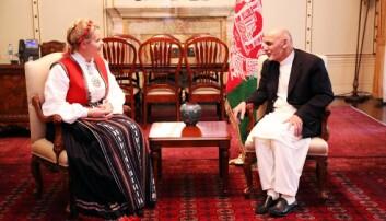 TOPPMØTE: Mari Skåre møter Afghanistans president Ashraf Ghani. Foto: privat.