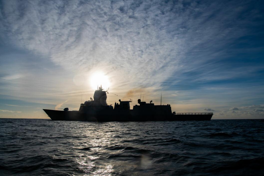 Må vente: Det er enda for tidlig å si om Norge kan og vil stille med et militært bidrag i Persiabukta. Her ser vi fregatten KNM Thor Heyerdahl (Foto: Ylva Seiff Berge/Forsvarets forum).