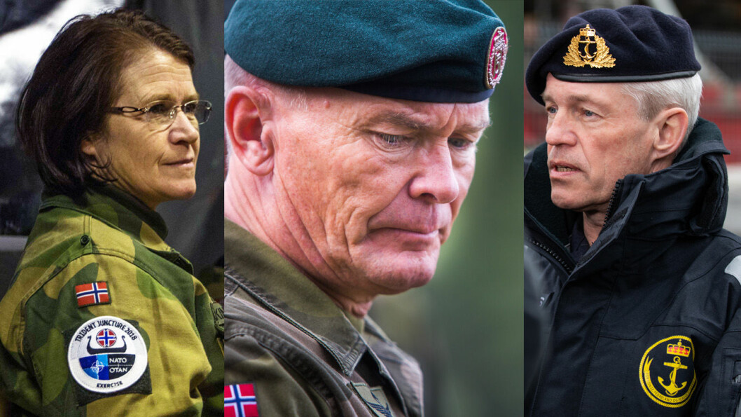 Sjefen for Luftforsvaret; Tonje Skinnarland, sjefen for Hæren; Odin Johannesen og sjefen for Sjøforsvaret; Nils Andreas Stensønes.