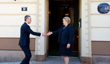 <B>MØTE:</B> Erna Solberg tar i mot&nbsp;Jens Stoltenberg, på hans første offisielle Norgesbesøk som generalsekretær i&nbsp;Nato.&nbsp;