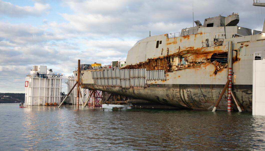 Dårlig stand: Det vil koste rundt 12-14 milliarder kroner å reparere KNM Helge Ingstad, konkluderer en rapport fra Forsvarsmateriell.