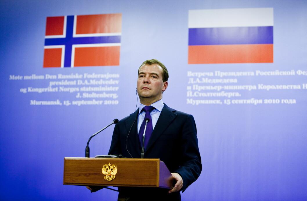 Russlands statsminister Dmitrij Medvedev har levert sin oppsigelse til president Vladimir Putin, melder det russiske nyhetsbyrået Tass. (Foto: Sara Johannessen / SCANPIX)