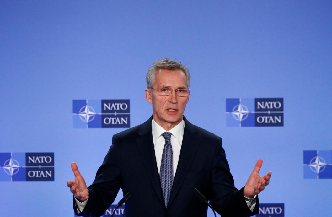Jens Stoltenberg avbildet under en pressekonferanse tidligere i år. Foto: Francois Lenoir/ Reuters