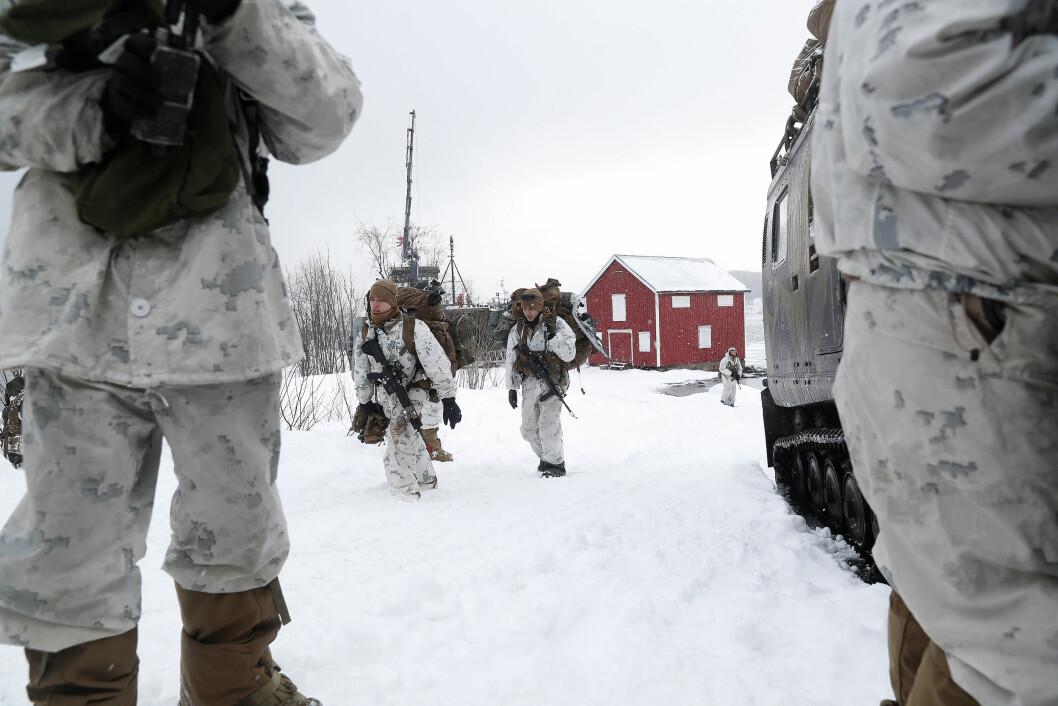 US Marines under Cold Response. Bildet er datert 12.mars. Foto: Torbjørn Kjosvold/ Forsvaret