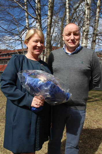 Britt T. B. Brestrup sammen med nyvalgt leder for NVIO, Dag- Magne Lunde. Foto: Hege Kofstad.<BR>