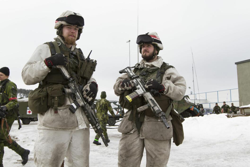 Svenske soldater i Trøndelag under Cold Response 2016. Da fant øvelsen sted vinterstid, nå blir det høst. Foto: JULIE HJERMSTAD/FORSVARET