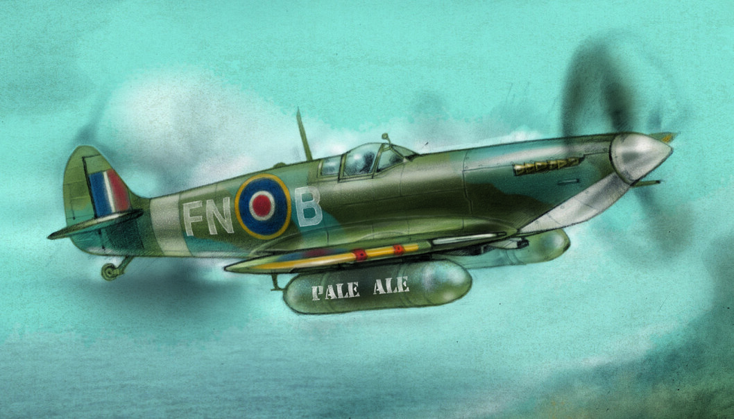 Øl på vinger: Det var ingen enorm luftbro, men Spitfire-fly transporterte likevel øl til tørste briter i Frankrike under 2. verdenskrig (tegning: Lise Halsnes).