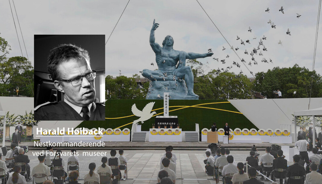Det er langt i fra useriøst å hevde at atomvåpen har forhindret krig, skriver Harald Høiback. Dette bildet er fra Nagasaki under en fredsseremoni til minne om hendelsen for 75 år siden.