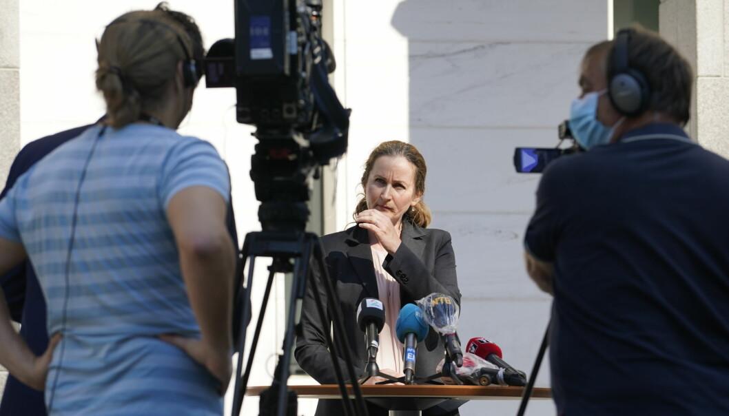 Politiadvokat Line Nygaard i PST etter fengslingsmøtet for en mann siktet for spionasje for Russland.