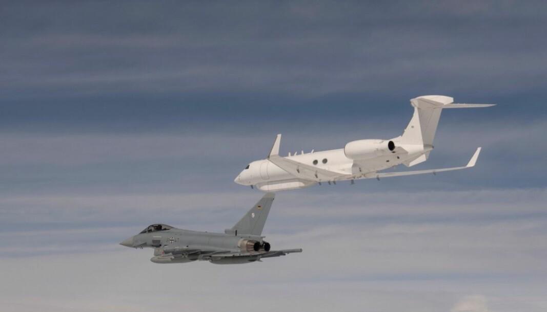En tysk Eurofighter og en israelsk Gulfstream G550.