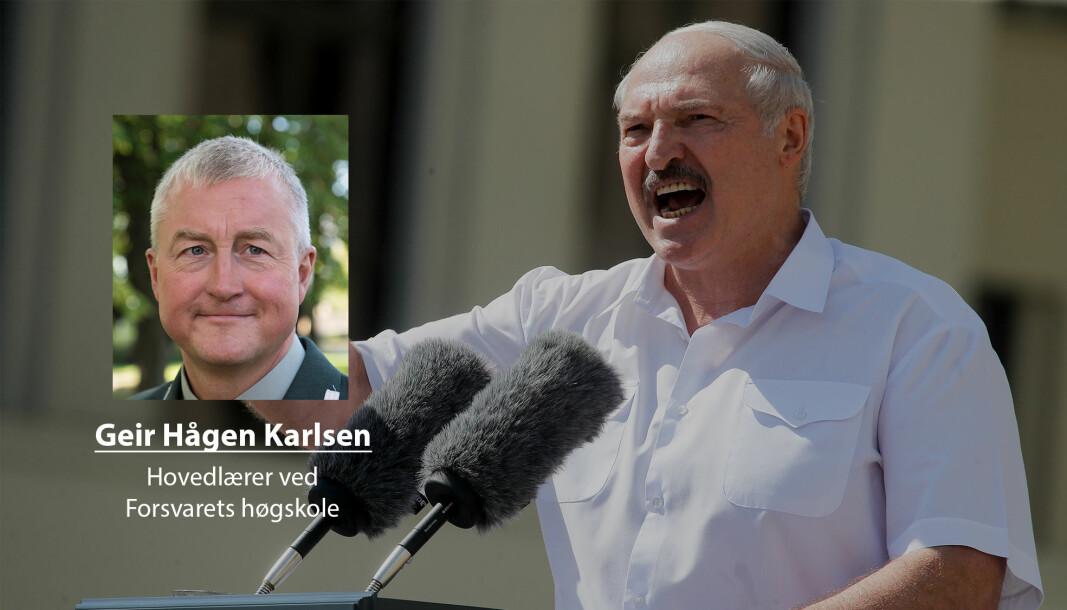 Gang på gang har autoritære styrer falt når sikkerhetsstyrkene har snudd og støttet folket, skriver Geir Hågen Karlsen. Her ser vi Hviterussland president Aleksandr Lukasjenko