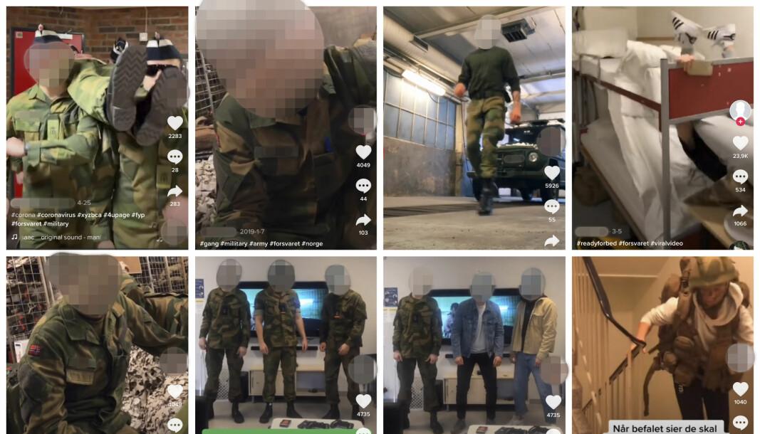 Disse bildene viser norske soldater på TikTok. Mediehuset Schibsted fraråder nå sine ansatte og i det amerikanske forsvaret er det forbud. I Norge viser Forsvaret til en generell policy for sosiale medier.