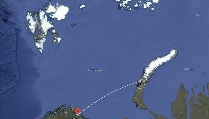 SÅ LYSGLIMTET: Det er mer enn 900 kilometer i luftlinje mellom Jarfjordfjellet ved Kirkenes til Matotsjkinstredet på Novaja Zemlja.
