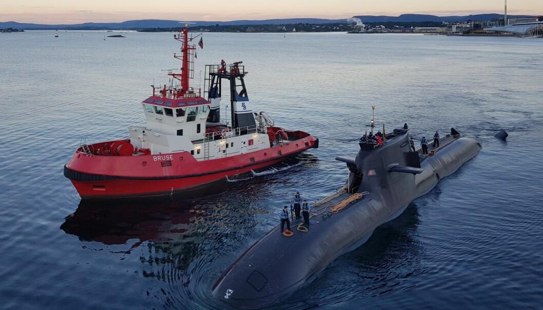 Den tyske ubåten U36 og to andre skip var å se i Oslo havn sist fredag.