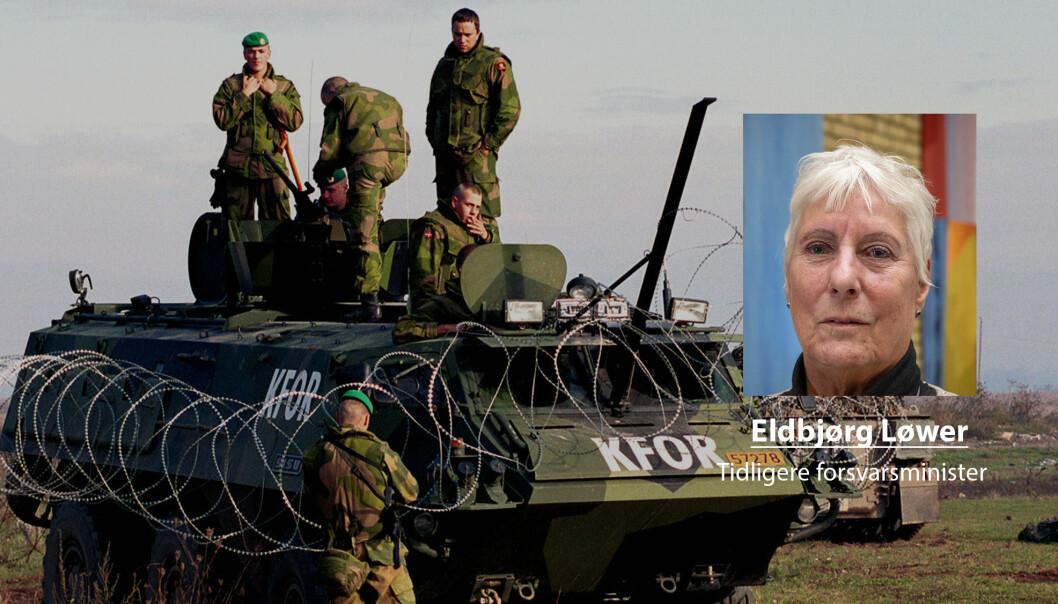 Det ble noen søvnløse netter og lange dager, skriver tidligere forsvarsminister Eldbjørg Løwer og beslutningen om å sende norske soldater til Kosovo.