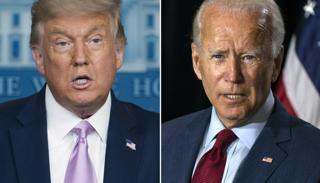 RETNINGSVALG: Donald Trump og Joe Biden er uenige om mangt i utenrikspolitikken. Tirsdag 3. november går amerikanerne til valgurnene.