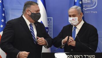SMITTEVERN: Utenriksminister Mike Pompeo og statsminister Benjamin Netanyahu møttes i august.
