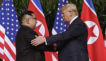 HISTORISK: President Trump håndhilste på Kim Yong-un i 2018.