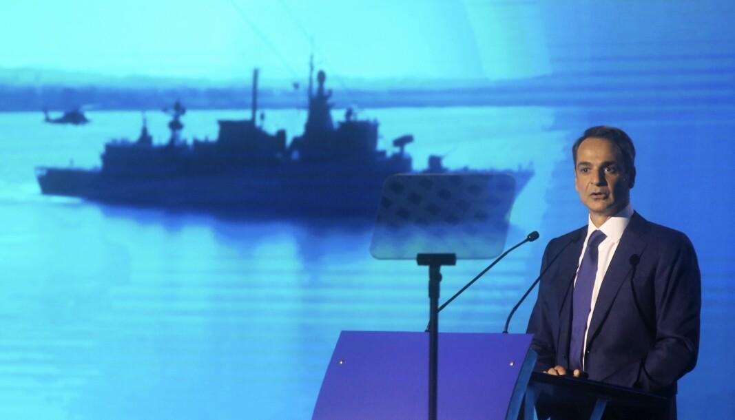 OPPRUSTNING: Den greske statsministeren Kyriakos Mitsotakis presenterte lørdag planer for å oppgradere landets forsvar, deriblant innkjøp av nye jagerfly, fregatter, helikoptre og andre våpensystemer.