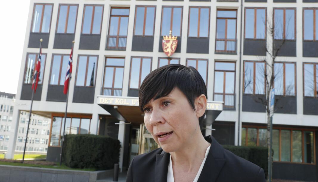 Utenriksminister Ine Eriksen Søreide (H) fremhever at situasjonen i Afghanistan ikke kan fortsette.