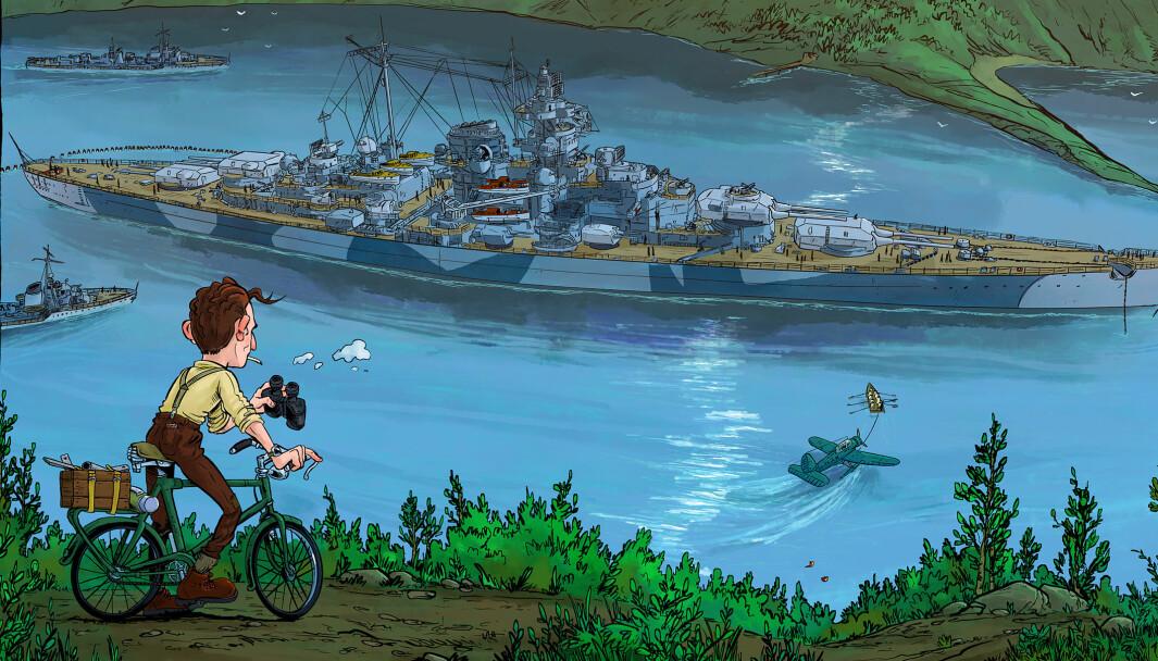 John S. Jamtli lager tegneserie om Tirpitz og de norske agentene som jobbet i skyggene for å få has på det tyske slagskipet.