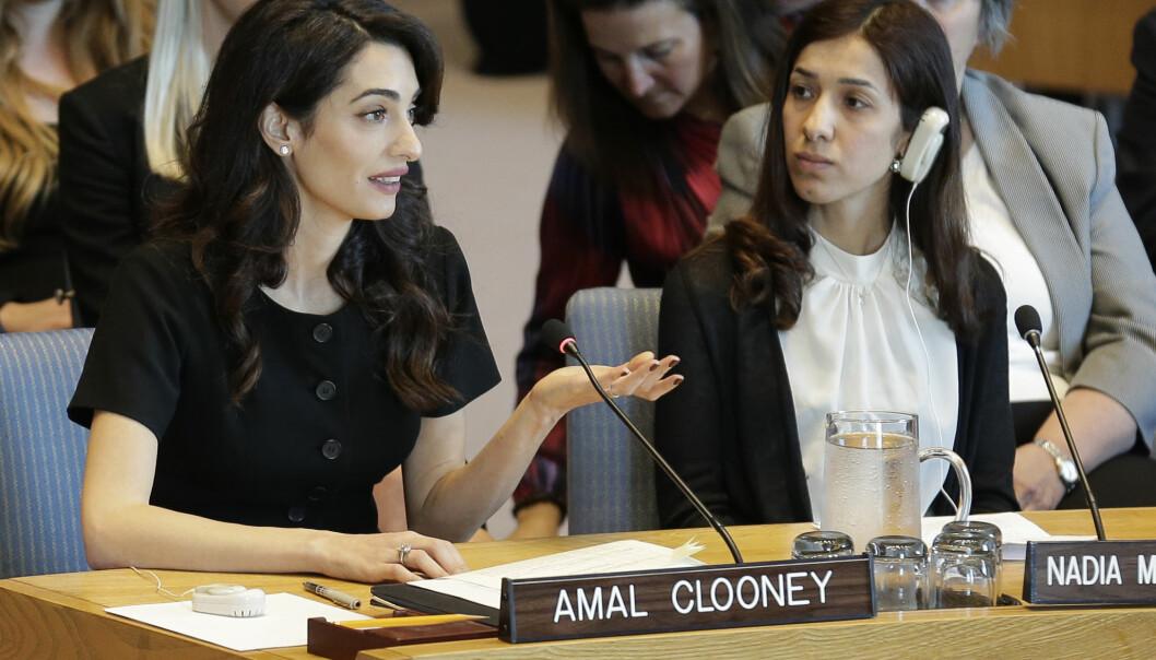 OVERLEVENDE: Den tyske delstaten Baden-Württemberg ga et tusentall yazidikvinner asyl, inkludert Nadia Murad (t.h.), som overlevde en slavetilværelse hos IS og senere ble tildelt Nobels fredspris. Her taler hun i FNs sikkerhetsråd i 2019 sammen med sin advokat Amal Clooney.