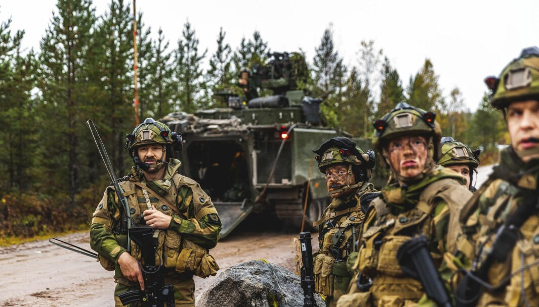 Fremskrittspartiet er nå for å utbetale alt av feriepenger til soldater i Heimevernets innsatsstyrker. Her ser vi innsatsstyrke Rype i samtrening med Telemark bataljon på Rena.