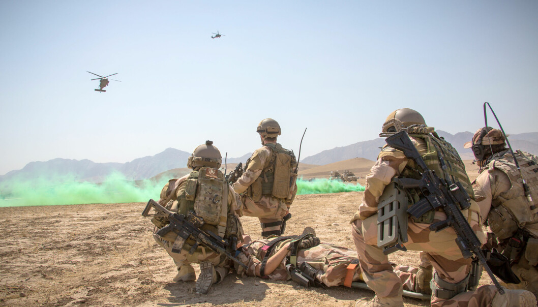 Sanitetsøvelse med medisinsk evakuering i Afghanistan i 2014.