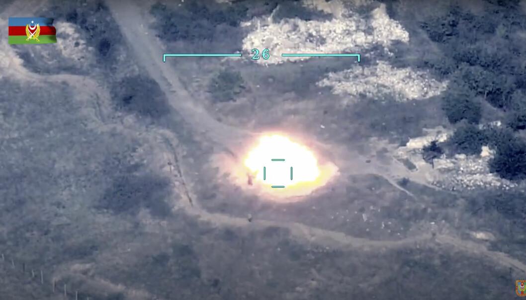 Dette bildet skal vise at et armensk luftvernsystem blir ødelagt i Nagorno-Karabakh.