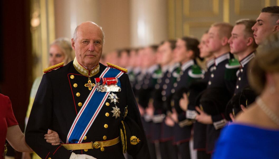 Hans Majestet Kong Harald under gallamiddag på slottet i 2017.