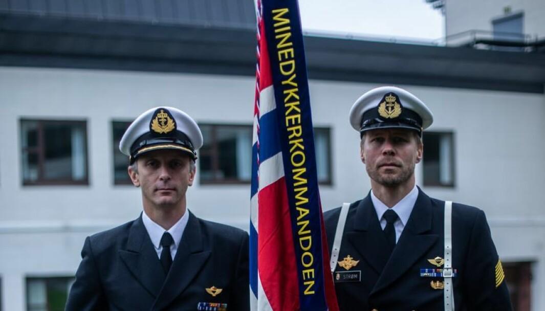 Minedykkerkommandoens nye command team, sjef MDK kommandørkaptein Frank Børresen og sjefsmester orlogsmester Aril Strøm.