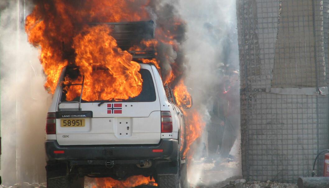 Bildet er fra angrepet på ISAF-leiren i Meymaneh i 2006.