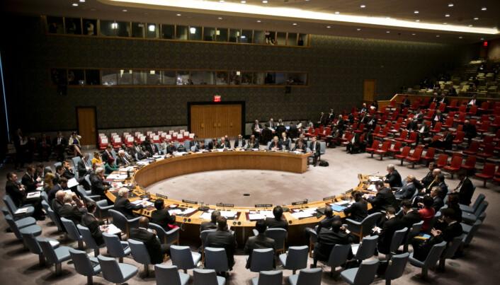 Erna Solberg taler i FNs sikkerhetsråd.
