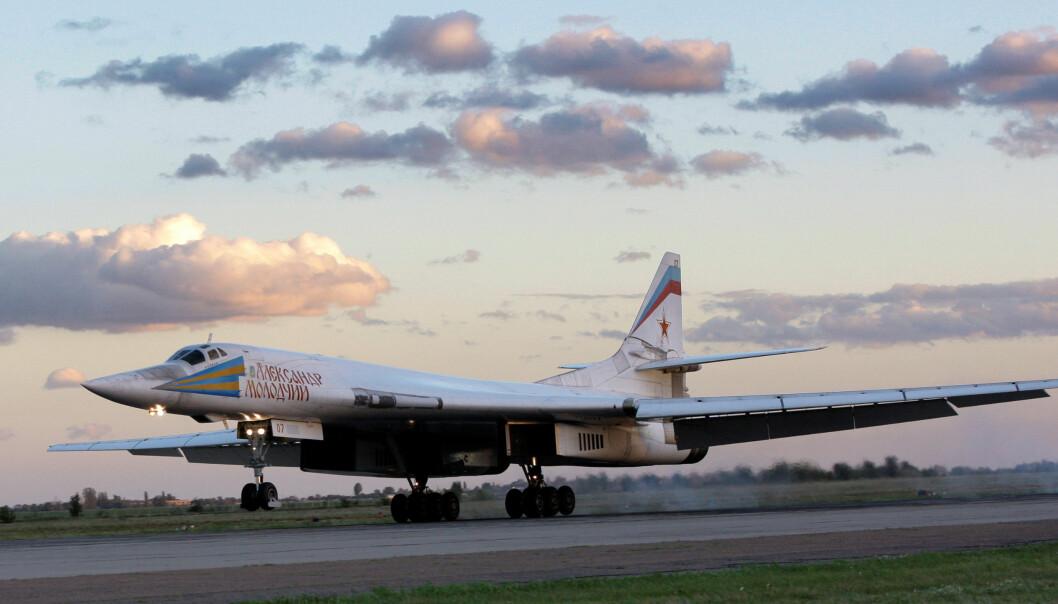 Et fly av typen Tu-160 avbildet i 2008. Bombeflyene omtales som hvite svane av russerne.