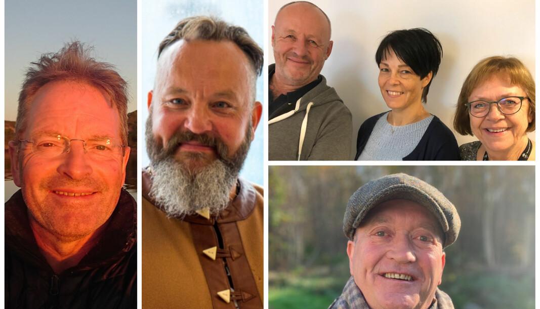 Jan-Edgar Nilsen (t.v.) Bjørn Arne Benjaminsen, NAV Elverum ved Carl Bergsvik, Mette Seland Pettersen og Gunn Strand, og Geir Olav Stamnes er nominert til Forsvarets veteranpris 2020.