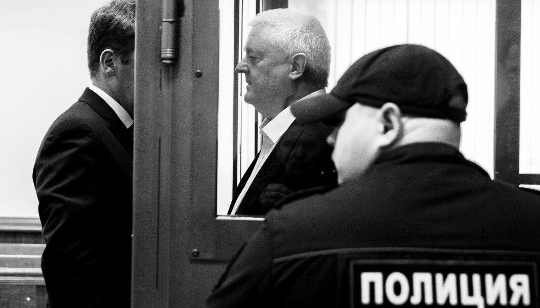 Frode Berg og hans forsvarer Ilja Novikov i byretten i Moskva da nordmannen fikk sin spionasjedom i fjor vår.