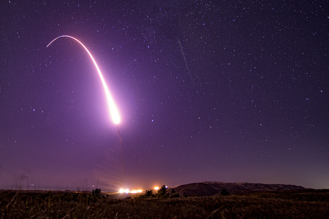 TEST: En testutskyting i California i USA av en langtrekkende rakett som kan frakte atomvåpen i oktober 2019.