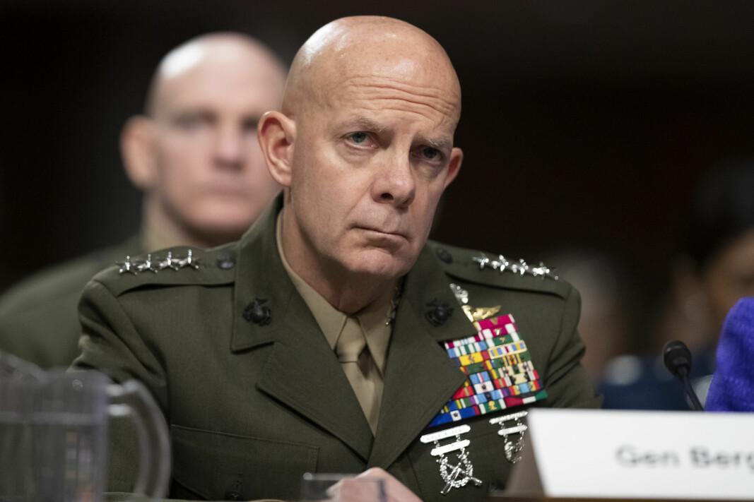 ØNSKER MOBILE BASER: General David Berger i en høring i Kongressen 3. desember i fjor. Berger er sjef for US Marines og ønsker seg mobile baser i Norge.