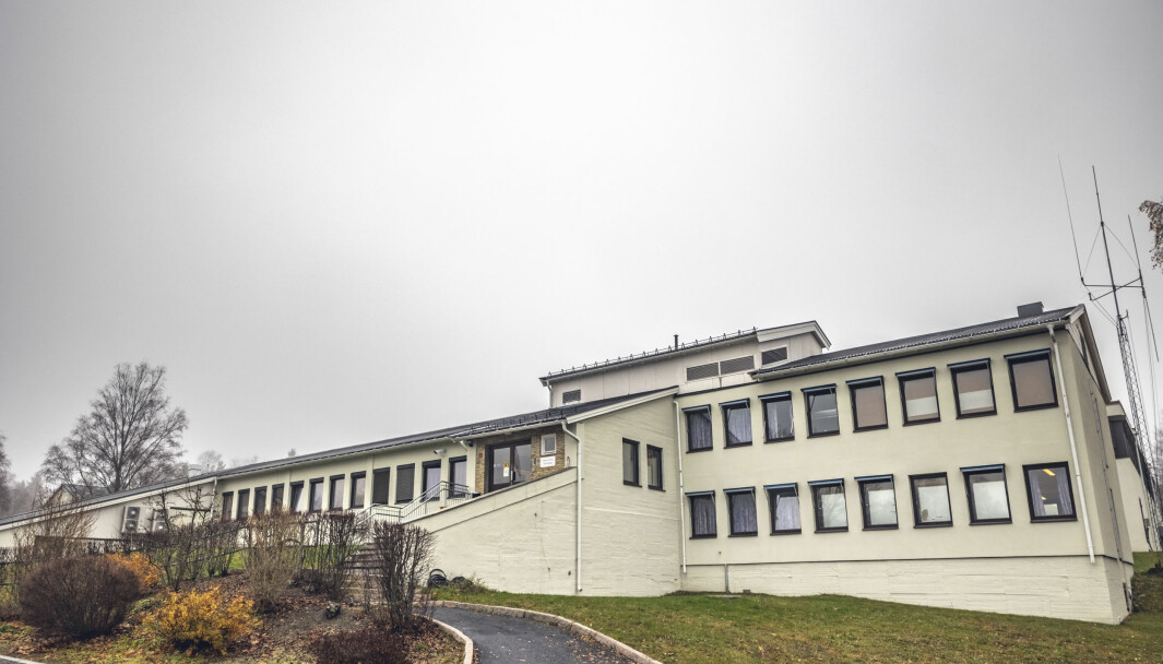 Korona-utbrudd på Krigsskolen på Linderud. Dette er undervisningsbygget.