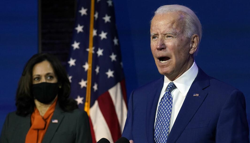 Joe Biden, som vant presidentvalget i USA i forrige uke og hans kommende visepresident Kamala Harris holdt tale i Queen theater i Wilmington mandag.