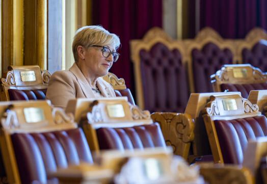 Oslo 20200506.  Liv Signe Navarsete (Sp) under Stortingets muntlige spørretime onsdag. Foto: Håkon Mosvold Larsen / NTB