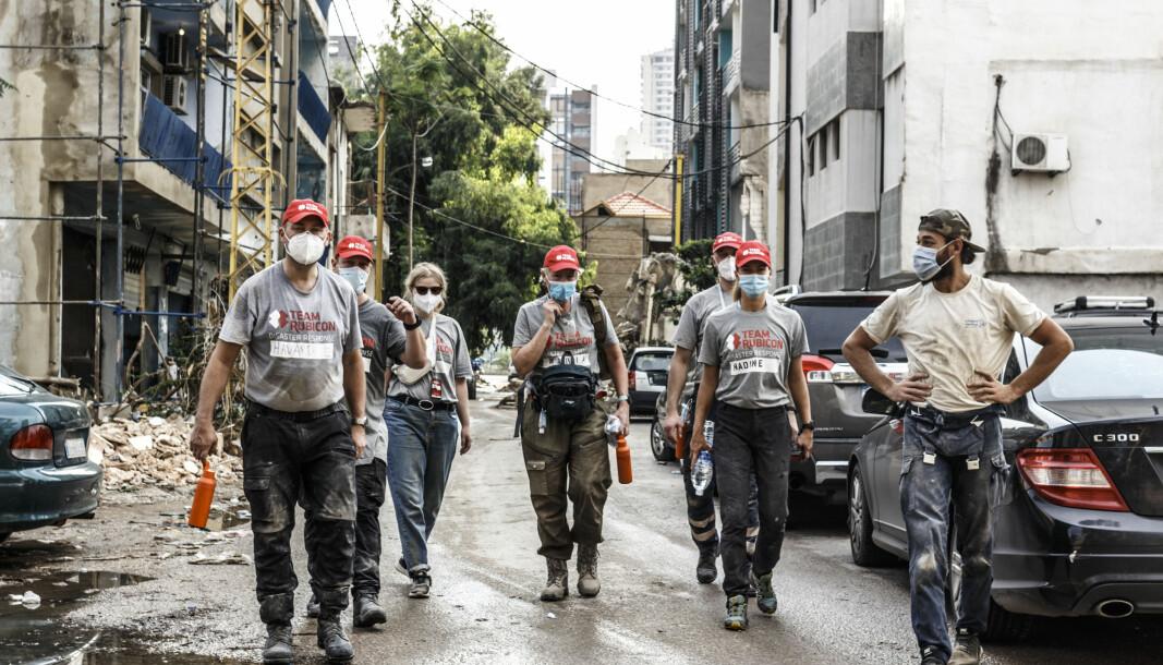 De frivillige fra Team Rubicon Norge består når av 29 personer som bistår i hjelpearbeidet i Beirut.