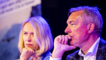 Anniken Huitfeldt og forsvarsminister Frank Bakke-Jensen under en tidligere debatt.