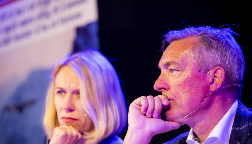 Anniken Huitfeldt (Ap) og forsvarsminister Frank Bakke-Jensen (H) under debatten «Kan vi stole på NATO?» under Arendalsuka 2019.