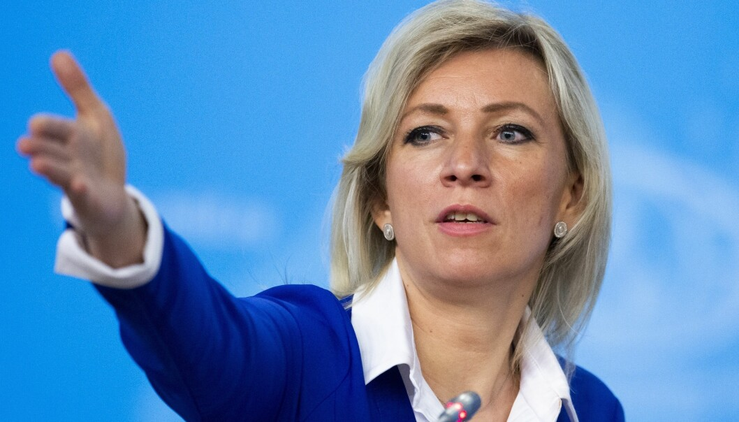 Talsperson Maria Zakharova i det russiske utenriksdepartementet avbildet i forbindelse med en pressekonferanse i Moskva der de oppsummerte 2019.
